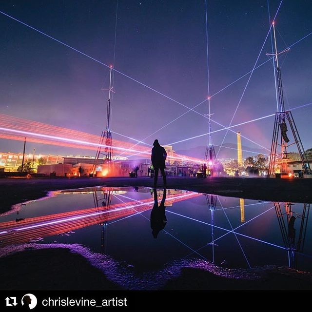 eXperiential art by @chrislevine_artist  The lasers beamed out into space from #darkpark are still travelling at 186k miles per second - the installation still manifesting and expanding over time through space @iy_project @dark_mofo @robert3delnaja #marcoperry @monamuseum #edenlab #sacredgeometry #truthseeker #trancendence art on a #cosmic scale 🔺💫➕