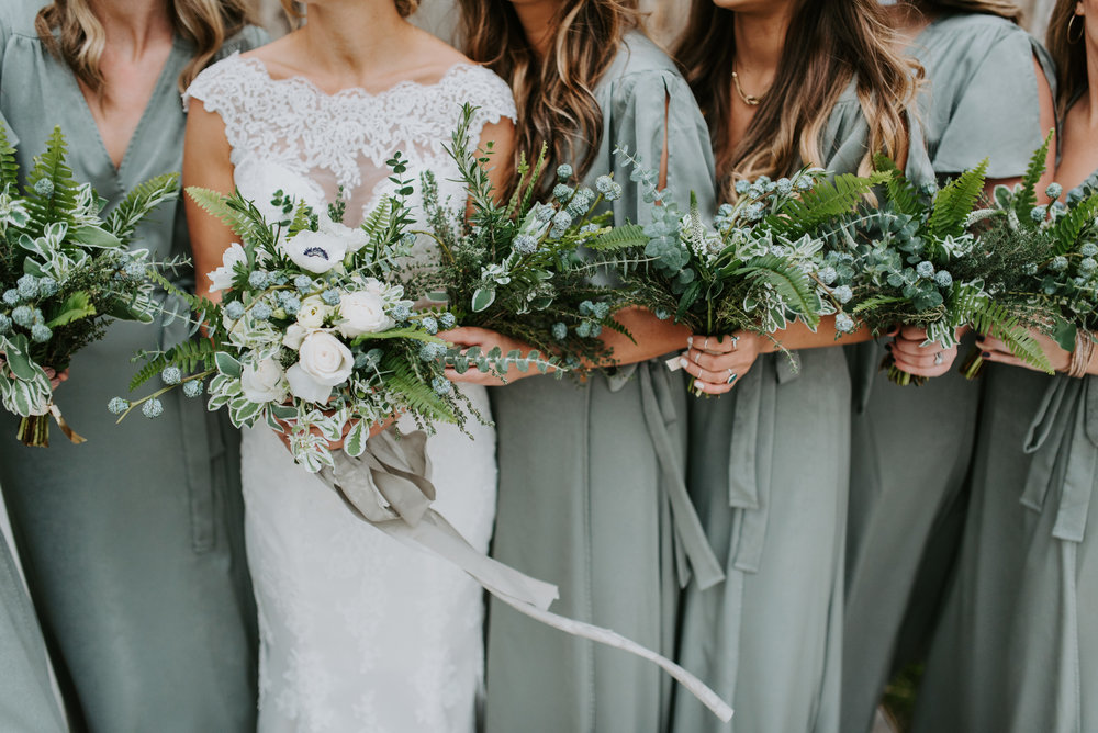 greenery bouquets with ribbons and sage green bridesmaids dresses memphis wedding