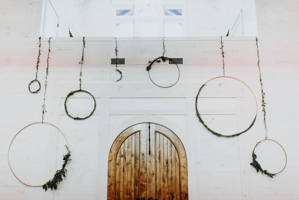 wedding metal hoop wreaths on wall