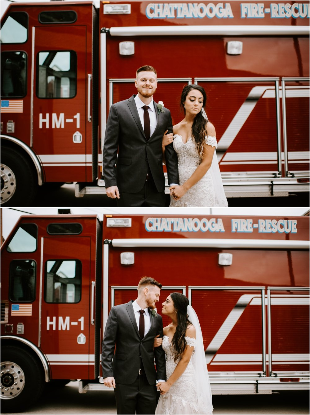 guy and girl in front of fire truck on wedding day
