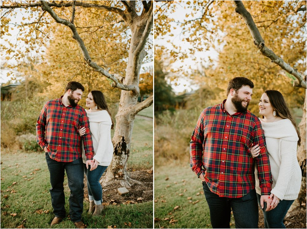 fall engagement yellow trees flannel shirt cream sweater memphis tennessee