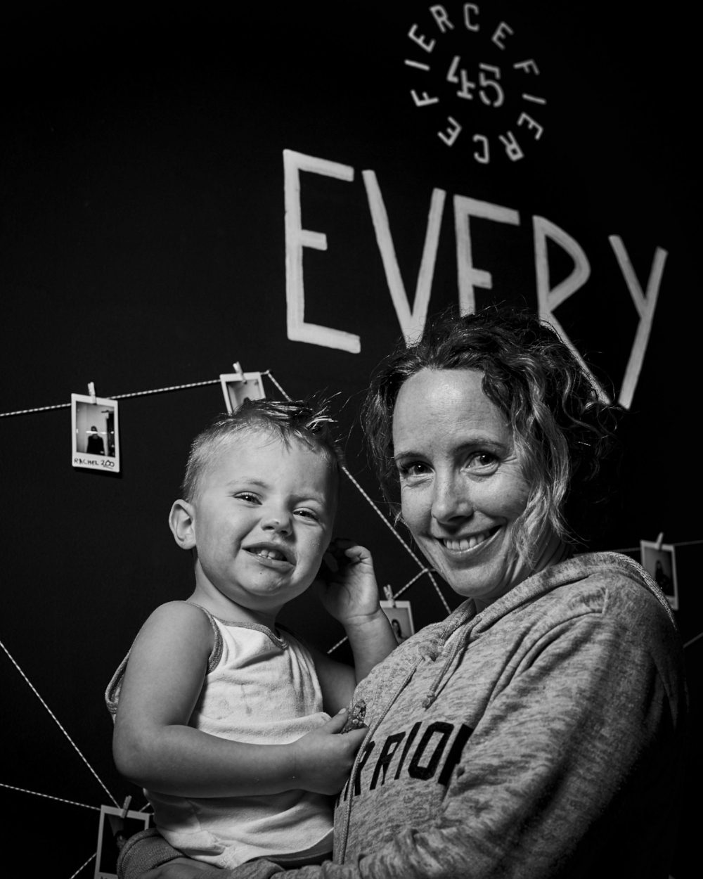 "ERIKA (+ REMY) // 446 classes complete  ""This workout is efficient. It's mental and physical strength building. My kids and I have both found a community at Fierce45"""