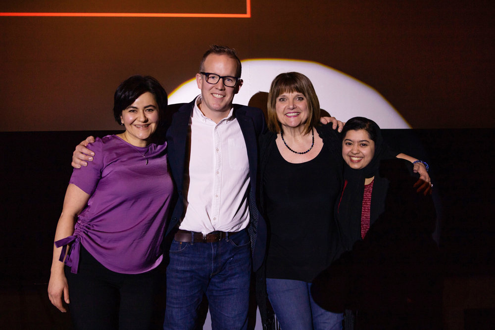 Natella Isazada, Jon Morrison, Reen Rose, and Fatima Zaidi celebrate their selection to the TEDxChilliwack 2019. Corissa Fir Photography