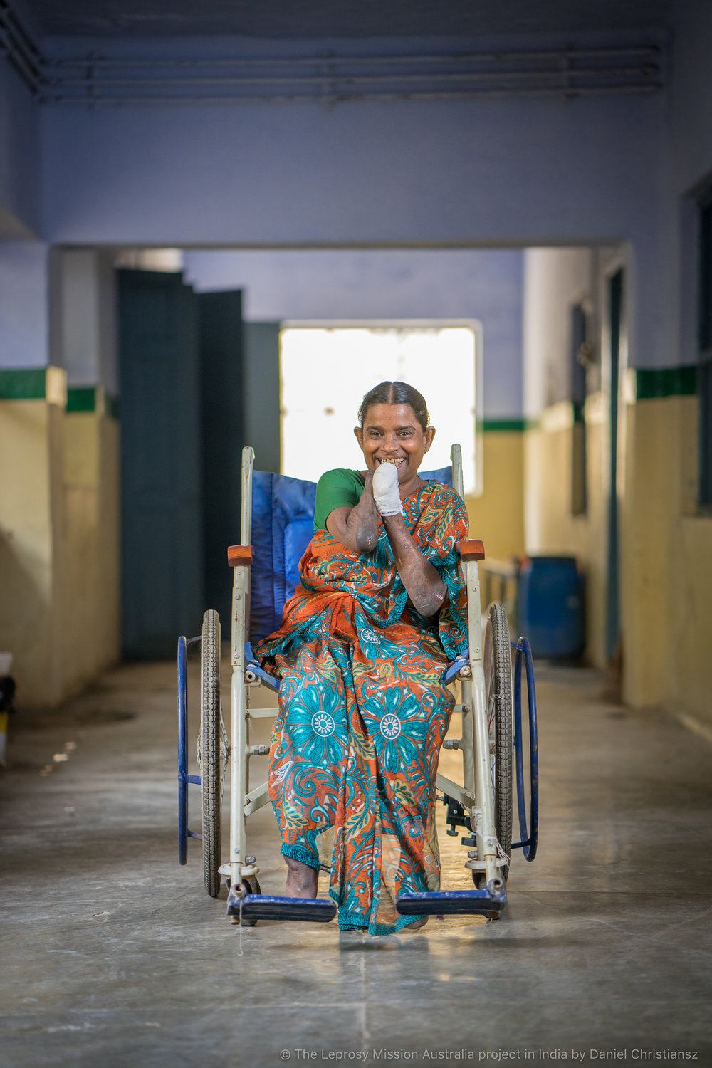 Nagammal at the hospital in India where she had received treatment for her leprosy
