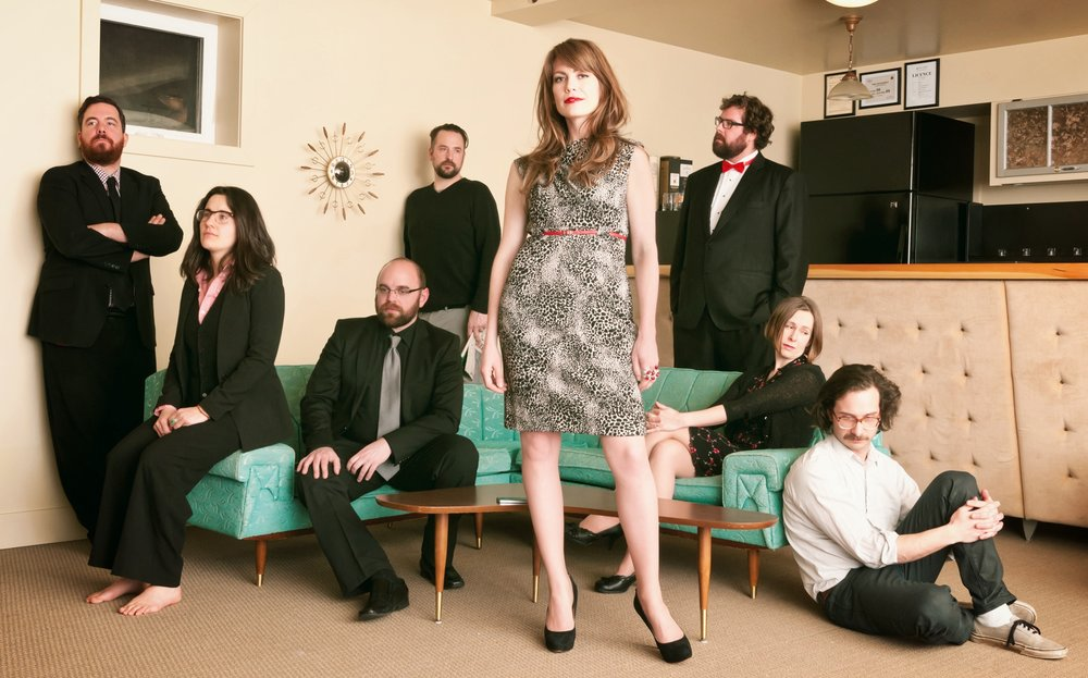L to R: Karl Valiaho (sax), Elizabeth Curry (bass), Jeremy Sauer (keys), Tyler Hammer (drums), moi, Cheney Lambert (trumpet), Anna Rose (vocals), Chris Sleightholm (electric guitar).