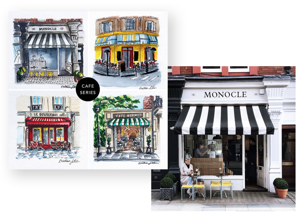 Cafe Series - Some of my favorite European storefronts make their way into this fun travel collection