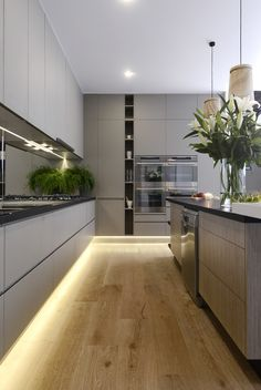 Kitchen lighting what you need to know xi projects simple plinth lights are fixed into the flat kick panel to the under side of the kitchen floor unit these lights give a soft glow and cast light across the workwithnaturefo