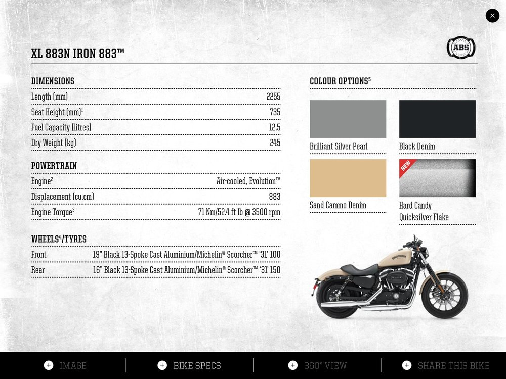 View 2: Bike Specs and Colours.