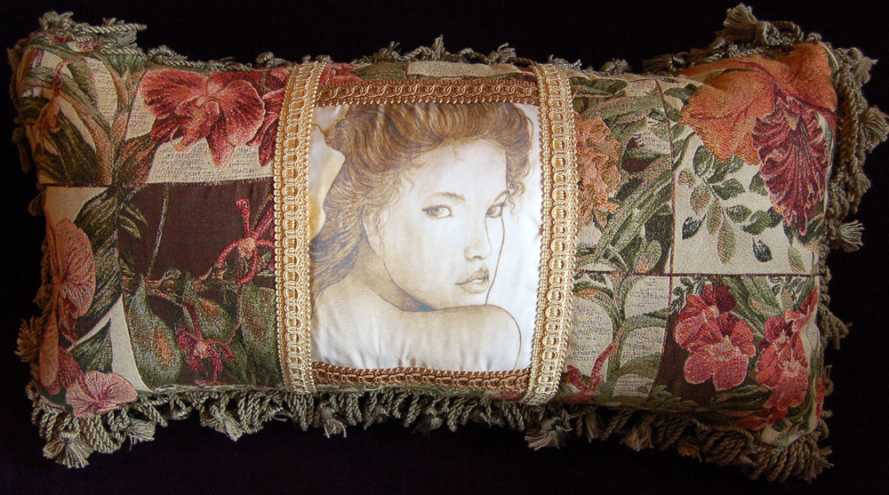 One of my favourite cushions made with a beautiful tapestry fabric, green fringe, with 'Diana' image printed on silk, illustration by Thomas R. McPhee.  Please email for dimensions and availability.