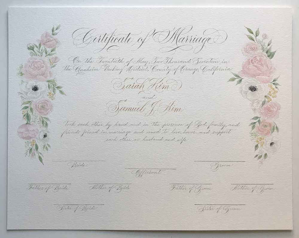 Custom Marriage Certificate Logos Calligraphy Design