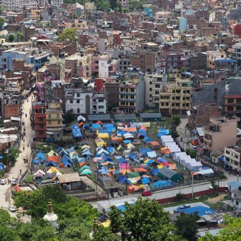 Kathmandu, temporary shelter, Photo by Yvonne Brand