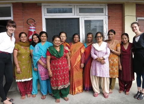 Anna and Julia with the knitters in Nepal, September 2014