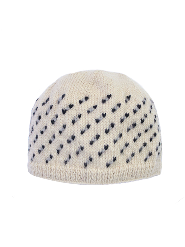 Here Today Here Tomorrow. Cream & Dots Beanie Hat. Autumn Winter 2016. Handmade and Fair Trade. Photo by Agnes Lloyd-Platt.