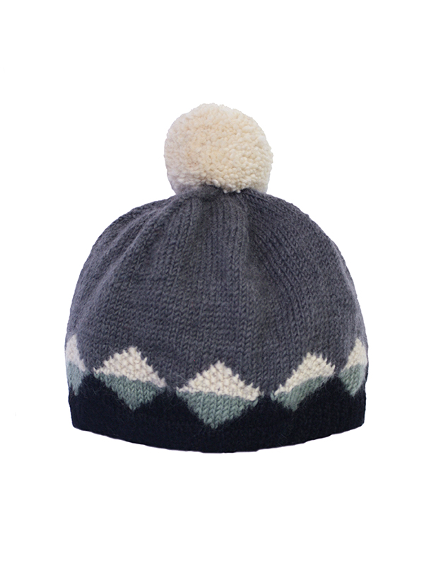 Here Today Here Tomorrow. Fern & Charcoal Bobble Hat. Autumn Winter 2016. Handmade and Fair Trade. Photo by Agnes Lloyd-Platt.