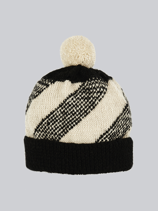 ebc32d50805 Dotted Stripes Black   White Slouchy Hat — Here Today Here Tomorrow