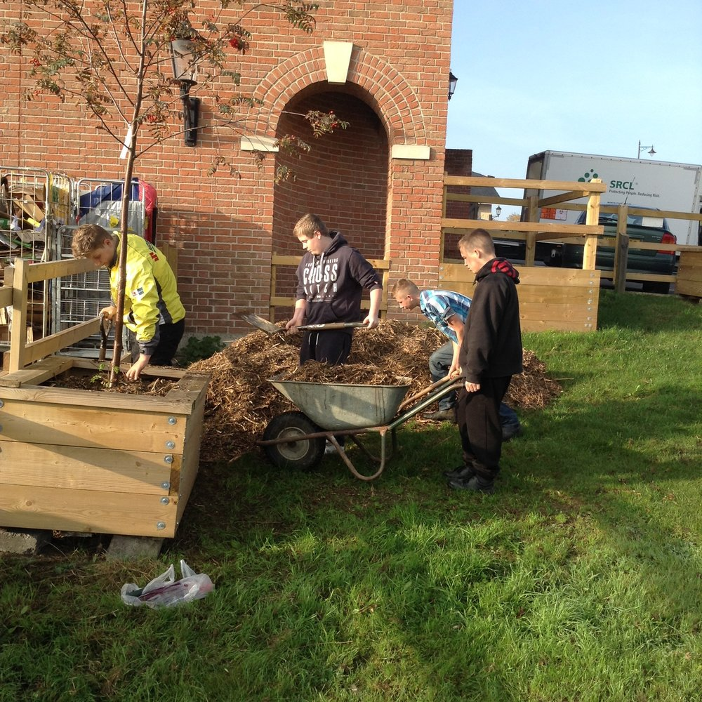 Preparation for Working Life students helping create a new community garden in Sturminster Newton