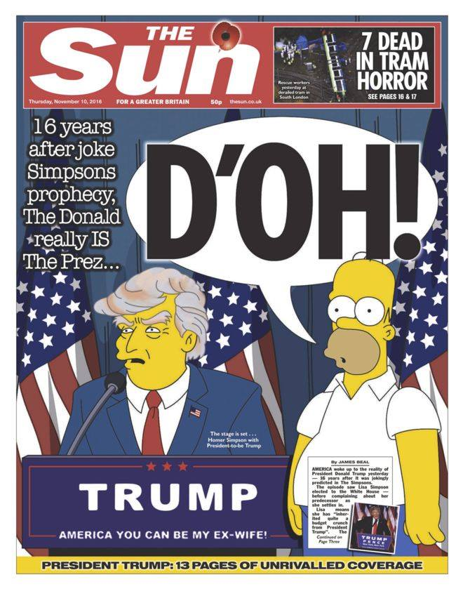 Even top-selling British tabloid newspaper, The Sun, got in on The Simpsons' supposed prediction. Having said that, The Sun has been caught out spreading much more serious information numerous times in the past.