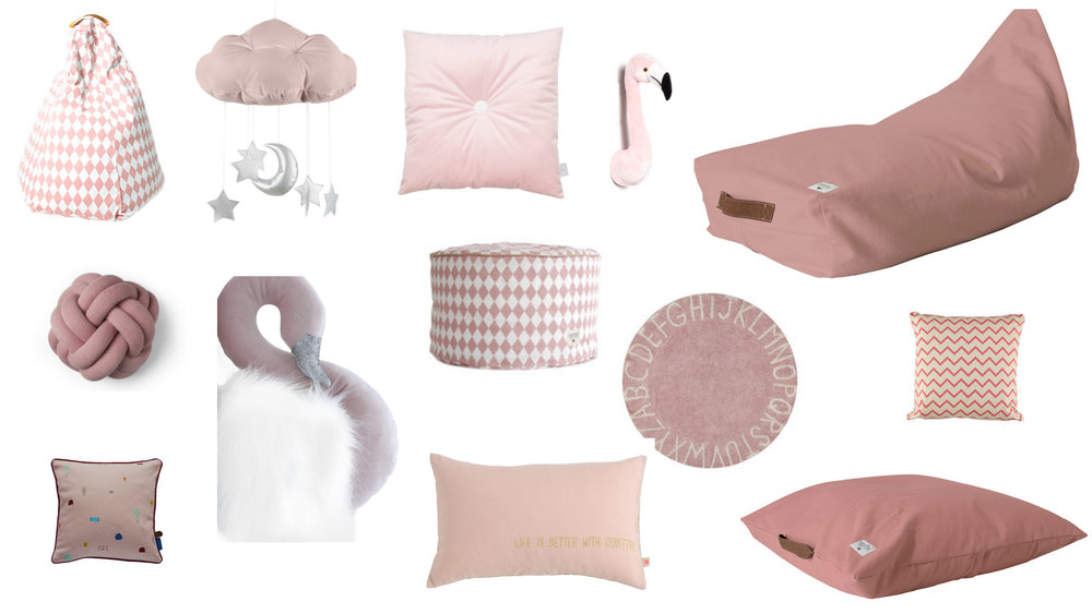 1. Pink Diamond Bean Bag, 2. Cloud Mobile, 3. Pink Square Velvet Cushion, 4. Flamingo 5. Large Bean Bag 6. Pink Knot Cushion, 7. Swan Wall Hanging, 8. Pink Diamond Pouffe, 9. ABC Rug, 10. Pink Zig Zag Cushion 11. OYOY Pink Square Cushion, 12. Rectangle Confetti Cushion 13. Large Pink Square Floor Cushion