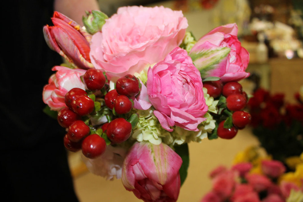Cranberries added a special touch to this pink arrangement