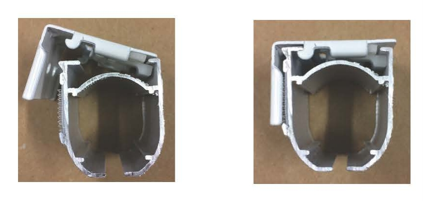 - Til venstre: start med å sette sporet på skinnen inn i sporet fremst på beslaget.Press inn mot veggen og press skinnen oppover i bakkant samtidig til skinnen går i lås.Til høyre: skinnen er ferdig montert, og tas ned ved å utføre prosedyren i motsatt rekkefølge. .