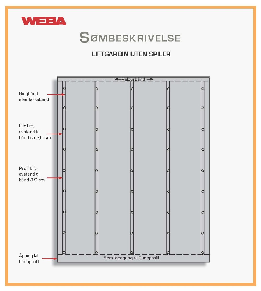 Søm av liftgardin uten spiler - • Gardinen syes 1 cm bredere enn skinnebredde (dette fordi gardinen
