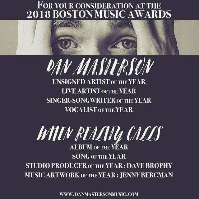 I made a record this year with the help of over 100 @pledgemusic contributors, collaborating with producer @brophydrums, @alecgaston, @revsoundstudio, @yesjennyb/@thesecretbureau, and many more.  That led to a nomination for #Songwriter of the Year at @nemusicawards, and a run at the final in the @lizardloungeclub Main Event.  We played a near-capacity release show at @thunderroadclub, rocked Harpoonfest, Boston Harbor Fest, and @oncesomerville. I held down a solo residency at @ploughandstarscambridge.  It's been our biggest year yet, and I appreciate your consideration as you fill out your nominating ballots for the upcoming @bostonmusicawards.  Give #whenrealitycalls a spin: http://song.link/whenrealitycalls