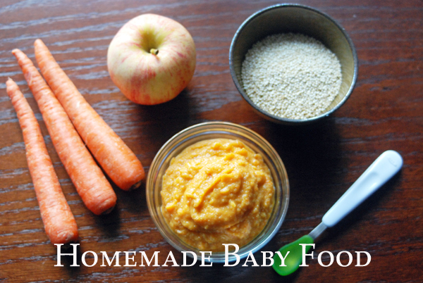 Homemade baby food using fresh fruits and vegetables.