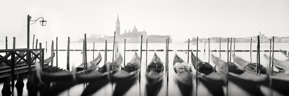 "Twelve Gondolas, Venice 2014 - Limited Edition Gelatin Silver Print No.: 11517  40 x 120cm (15.8 x 47.2"") ,  Edition of 9 50 x 150cm (19.7 x 59.1"") ,  Edition of 9 60 x 180cm (23.6 x 70.9"") ,  Edition of 7 80 x 240cm (31.5 x 94.5"") ,  Edition of 5"