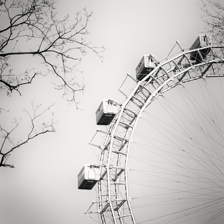 "Wiener Riesenrad Study #1, Prater, Vienna 2018 - Limited Edition Gelatin Silver Print No.: 11948  40 x 40cm (15.8 x 15.8"") ,  Edition of 9 60 x 60cm (23.6 x 23.6"") ,  Edition of 9 80 x 80cm (31.5 x 31.5"") ,  Edition of 7 100 x 100cm (39.4 x 39.4"") ,  Edition of 5"