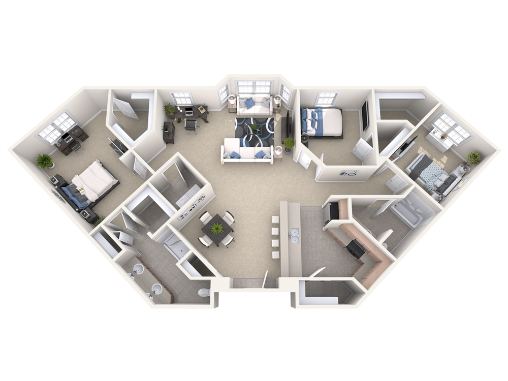 The Bentley- three bedroom apartment at the manor