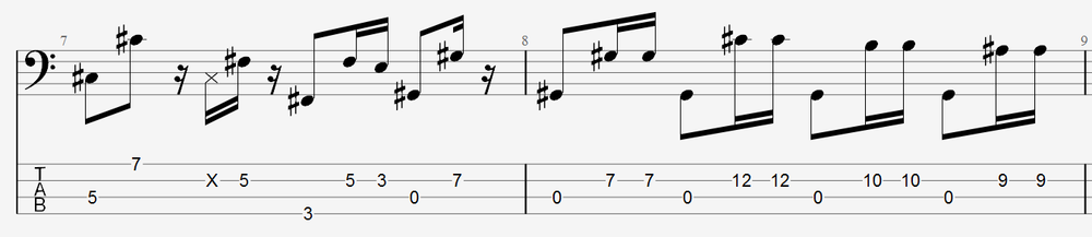 Slightly more difficult pattern, showing rests and different note lengths - still adding up to 4 notes per measure.