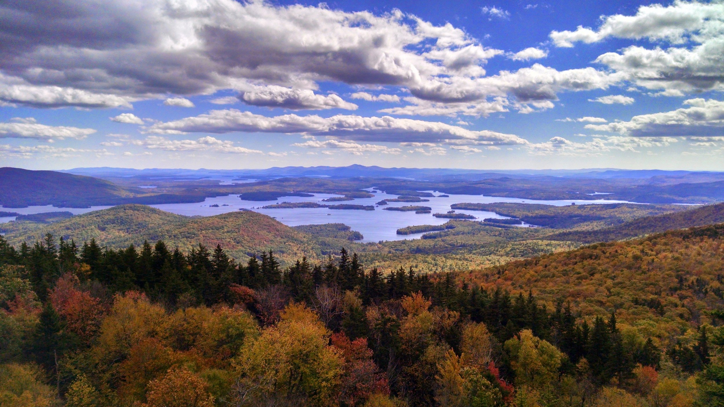 Squam Lake as seen from a mountain peak.