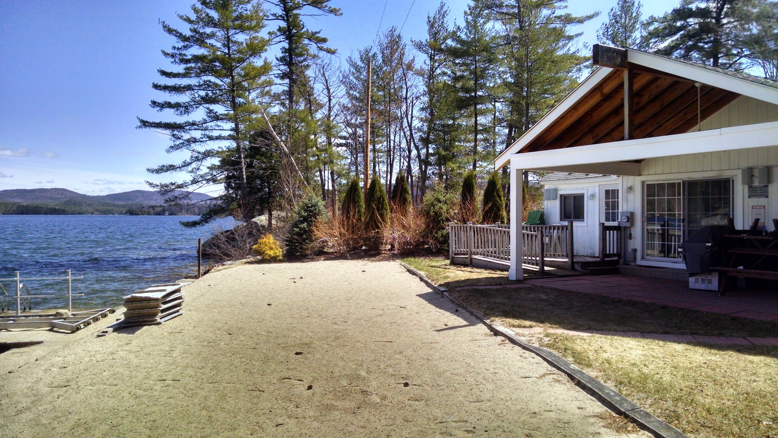 Our private beach, patio, and the lake!  It is almost time to put in the dock!