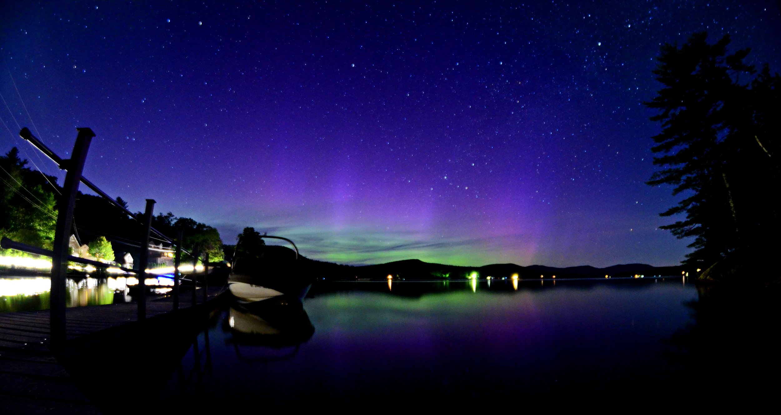The Aurora Borealis as seen from our dock at Water Monkey!
