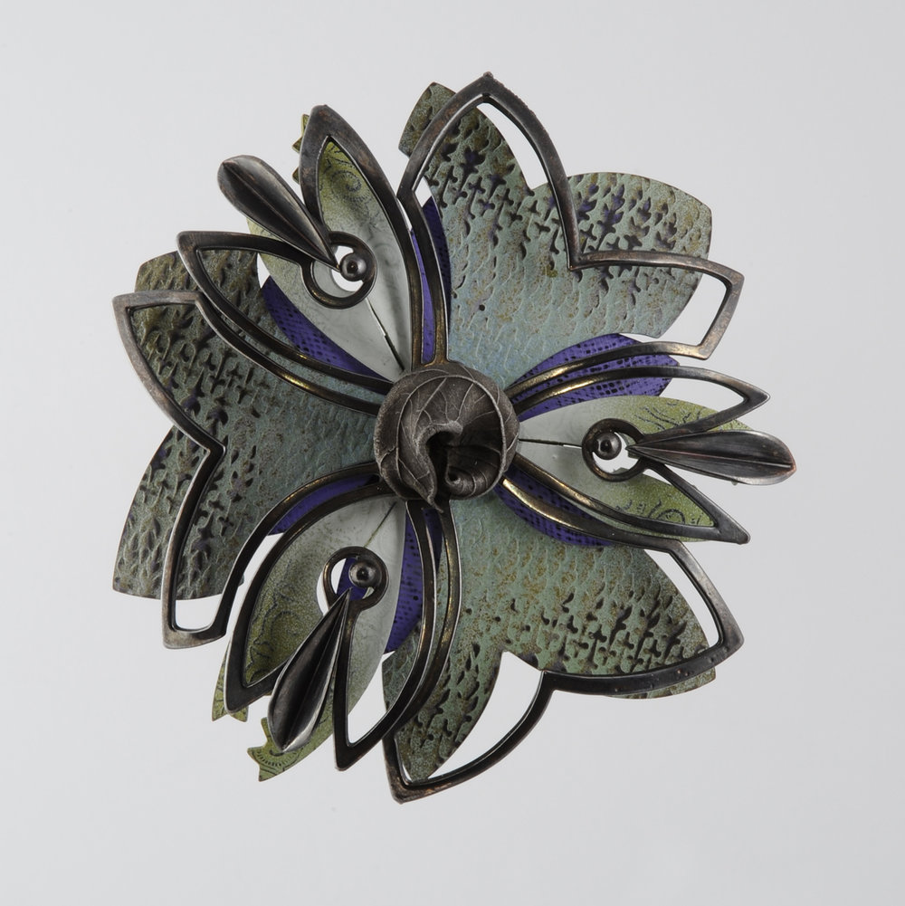 Rosette Brooch 19-15     2015     bronze, acrylic lacquer     4 x 4 x 1.25 inches