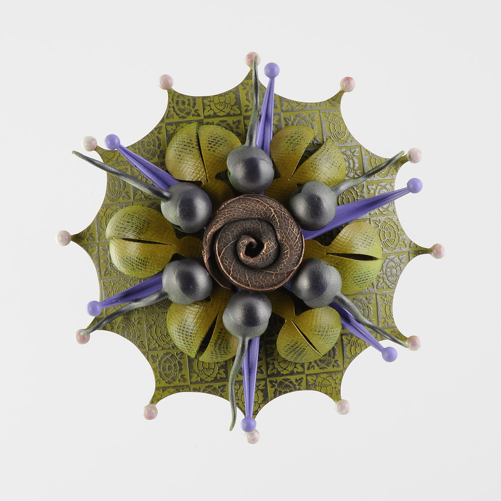 Rosette Brooch 35-16  |  2016  |  bronze, copper  |  4 x 4 x 1.5 inches