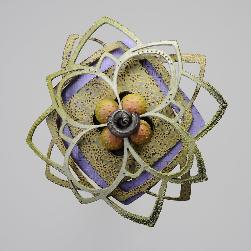 Rosette Brooch 25-16  |  2016  |  bronze, copper, steel  |  4.5 x 4.5 x 1.125 inches