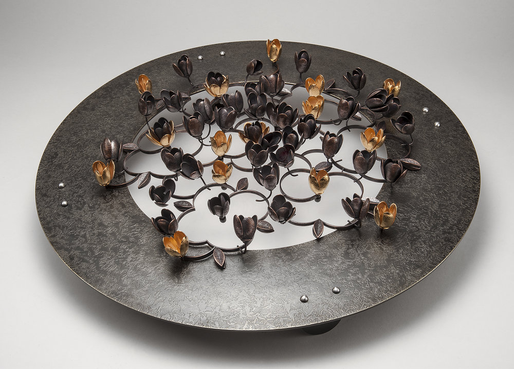 Pleasance  |  2015  |  bronze, copper, 24k gold plate  |  20 x 20 x 5 inches