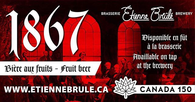 Bonne 150e #fêteduCanada! Nous lançons une nouvelle bière pour l'occasion : la 1867 (bière aux fruits, 5 %). Pensez à notre Vagabond (ale blonde) rehaussée d'arômes de framboises et d'abricots, et c'est ce que donne la 1867! Disponible en fût dès aujourd'hui à la brasserie. Venez donc célébrer le 150e avec nous en savourant une pinte de 1867! #Canada150 #bierebio // Happy 150th, Canada! We're launching a new beer for the occasion: the 1867 (#FruitBeer, 5%)! A fruity twist on our #Vagabond (Blonde Ale), with notes of raspberry and apricot.  Now available on tap at the brewery, so come celebrate Canada's 150th birthday with us and a pint of 1867! #613beer #drinklocal