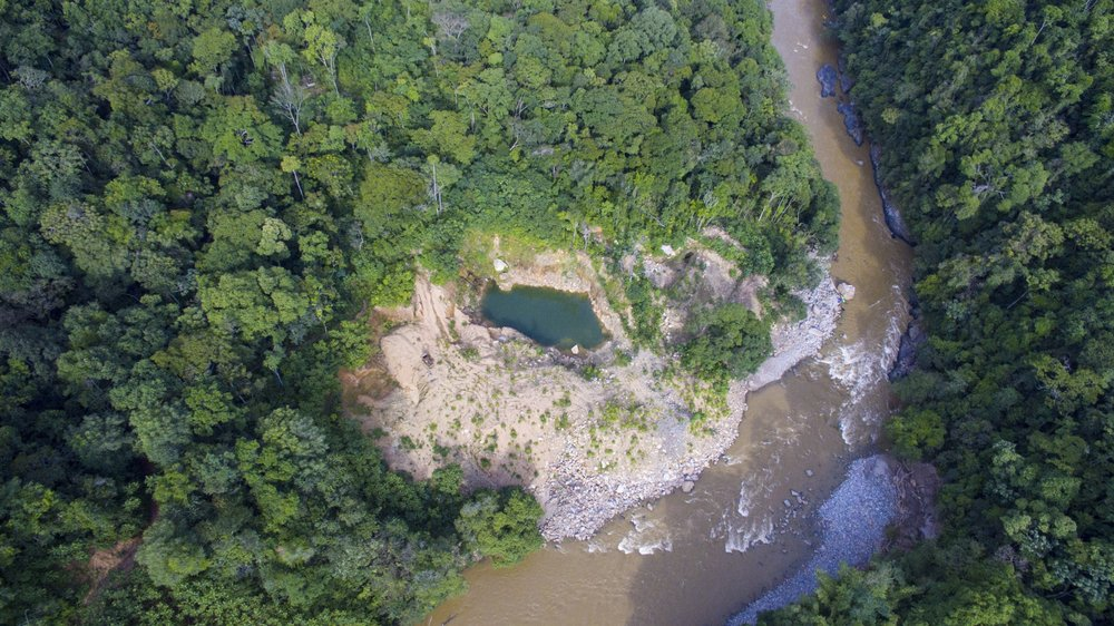 An illegal gold mine from above. Credit: Expedition Colombia