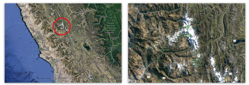 The location of the Cordillera Huayhuash in relation to Lima and a close-up look at its snow covered peaks.