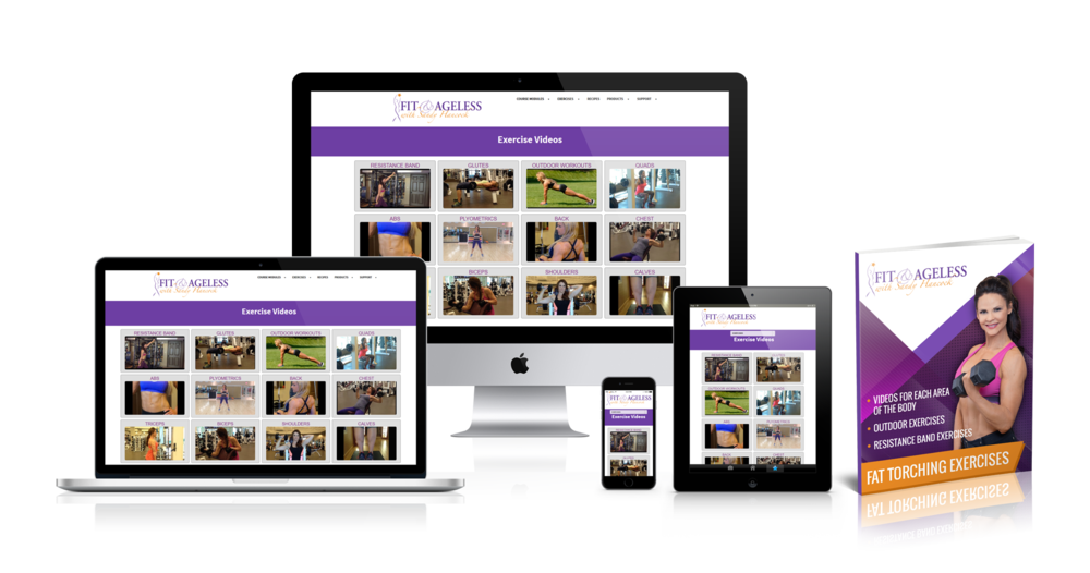 Typically I charge my clients hundreds of dollars for access to my online video library. But because I want you to have the best support possible, I am waiving any fees and giving you complete access for FREE during your 12 Week Fit & Ageless Program! The exercise library contains detailed videos showing exactly how to perform the exercises. I've also chosen fat targeting exercises for the trouble spots we despise so much but can't ever seem to get rid of. You'll love having these videos. It's like having access to my fitness training 24/7! 🙂  xo Sandy