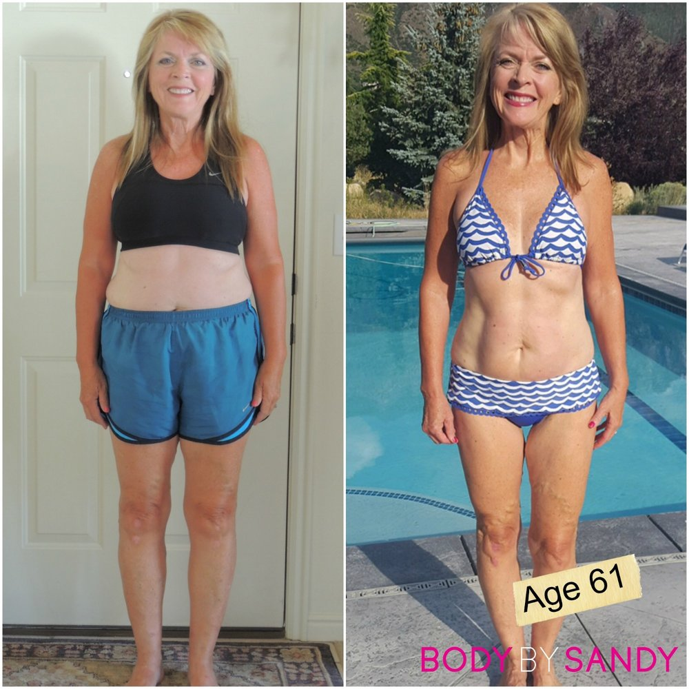 Karen lost 27 lbs, 14.5% body fat and lost 26 inches overall. Karen is a sexy grandma rocking her bikini at 61 years old.