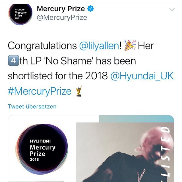 A nice surprise for a Thursday morning. First English album I've been involved in that's been nominated for an award! #mercuryprize