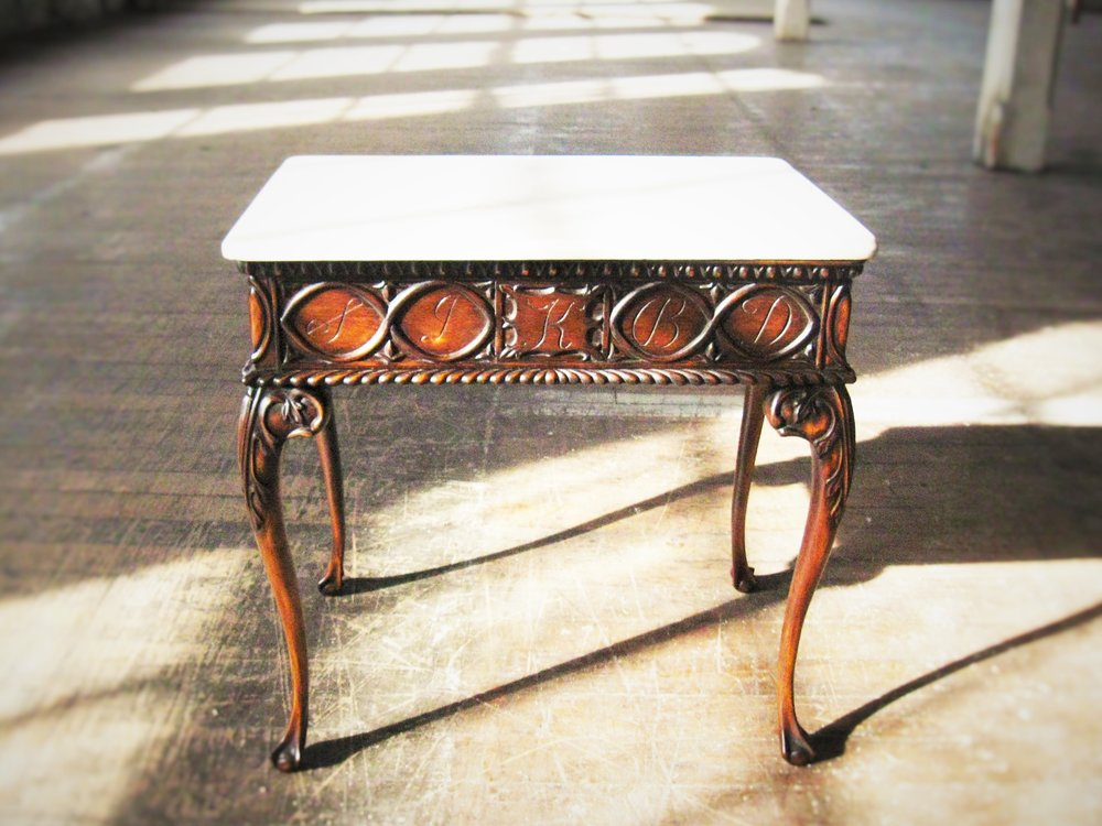 Proxendale Table     Contact me for pricing.   Shown in Dyed Genuine Mahogany and Marble.