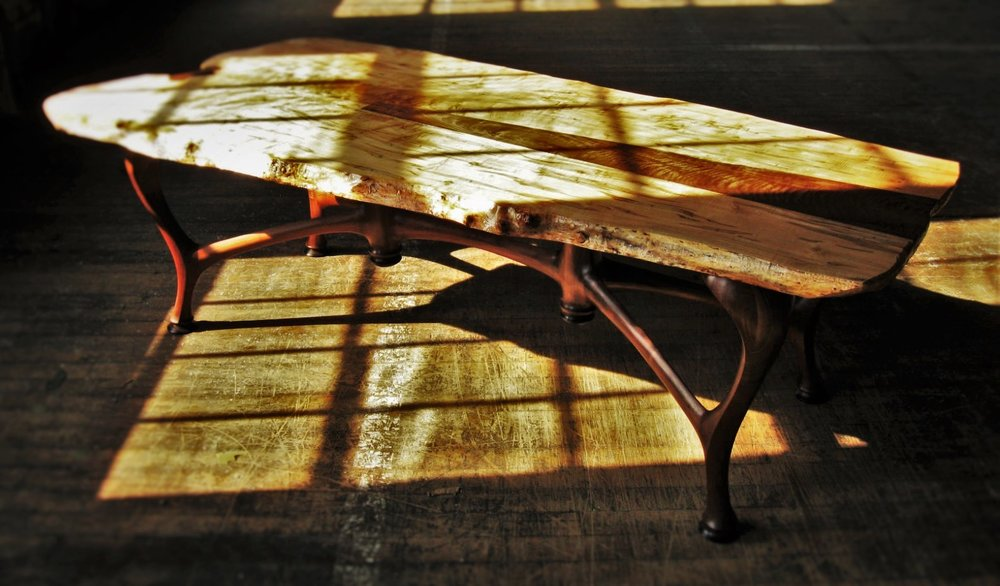 "Proxbeam Table- Slab Top     Starting at $7,500  Shown in ""Ghost"" Maple, Walnut, Bocote, and Macassar Ebony    Offered at $14,950"