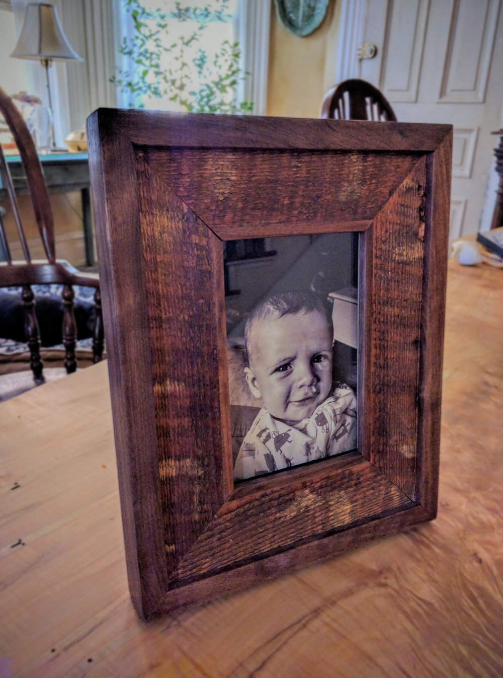 "Rustic Frame   $175   Shown in Walnut and Reclaimed Spruce    Fits 4""x6"" Photograph."