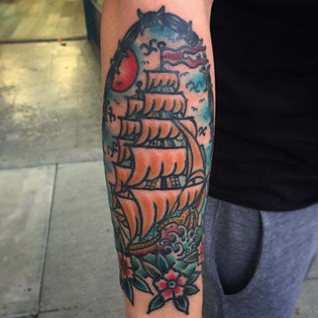 Clipper ships and barbed wire @pastimetattoo  Booking: info@benhameen.com www.benhameen.com or DM