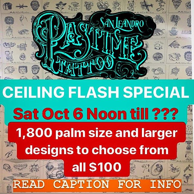Another @pastimetattoo flash special where me @nate.burrow.ink @billybostonink and our guest for the weekend @tattoosbydevin will be tattooing any of the 1,800 @mrflashmachine designs we have up on the ceiling all day for $100 a pop (color no color up to you). Here's what you need to know: *walk-ins only 1st come 1st served *arms and legs only *2 per person only *CASH ONLY *must be respectful to our shop and the neighboring businesses and everyone at the shop otherwise you will be asked to leave *we won't be posting the designs so if you want to check them out just stop by the shop anytime we are open *and most importantly HAVE FUN!!! Feel free to repost and help spread the word!