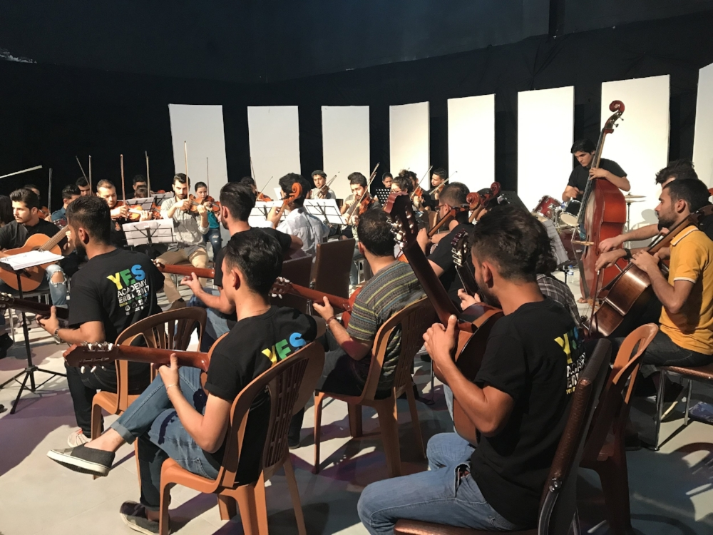 Students rehearse at the YES Academy in Erbil